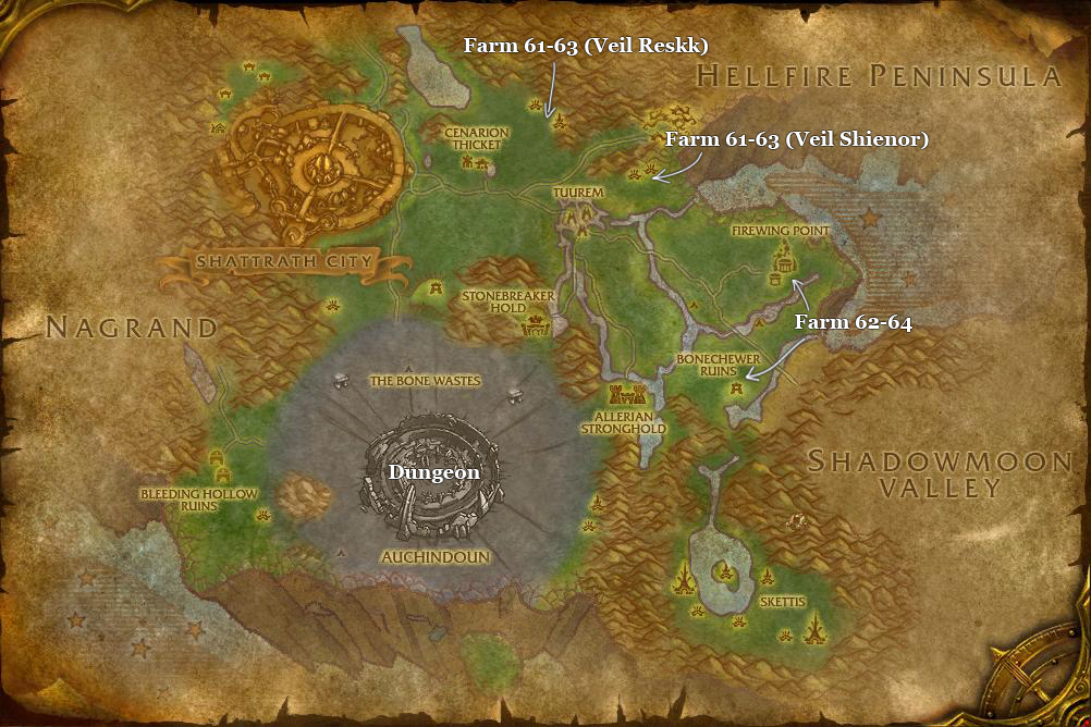 alliance leveing guide terokkar forest part 6 dungeons and farm spots
