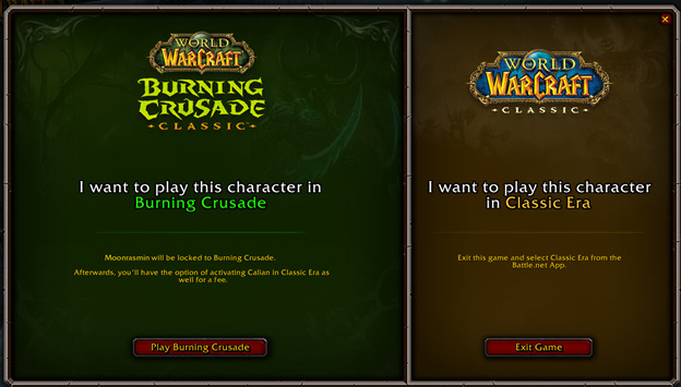 more info on classic era or burning crusade for characters