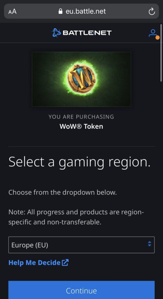 wow token screenshot