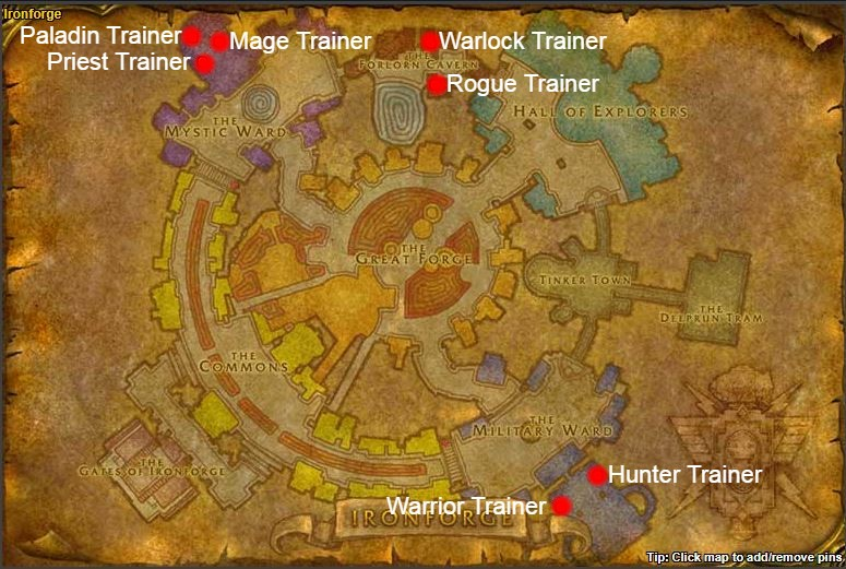 TBC Classic Class Trainers alliance ironforge