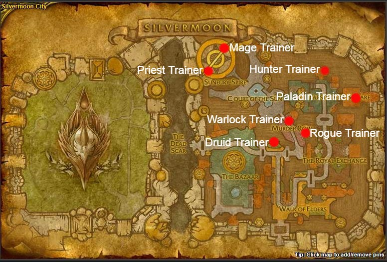 TBC Classic Class Trainers horde silvermoon city