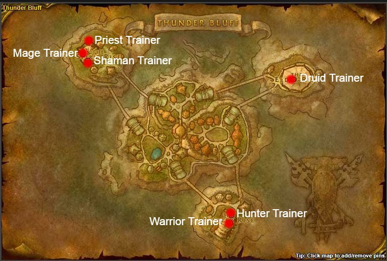 TBC Classic Class Trainers horde thunder bluff