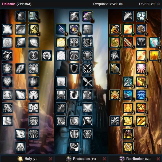 Retribution Paladin Pvp Talent Tree Spec Wow 3.3.5a