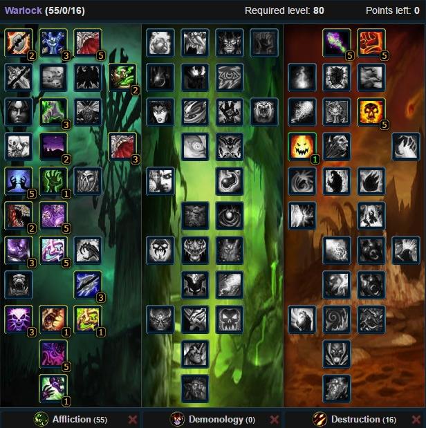 Affliction Warlock Talent Tree Wow 3.3.5a