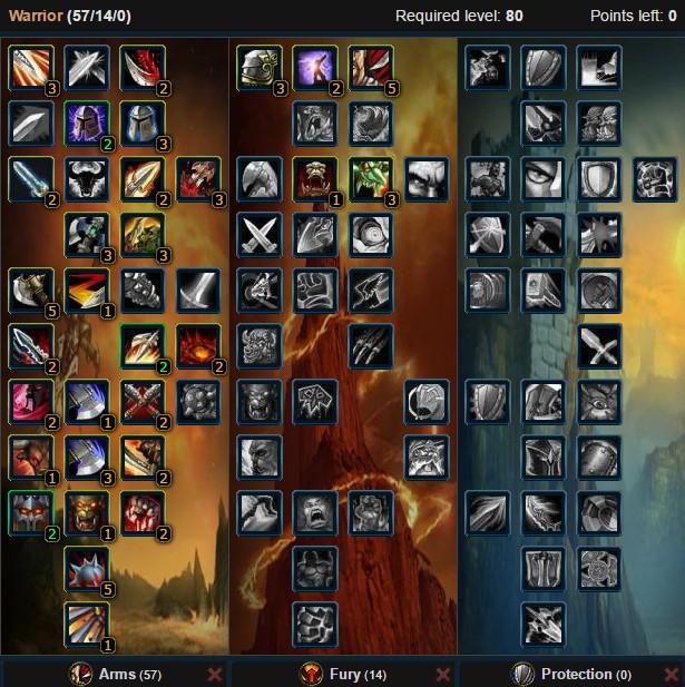 Arms Warrior Talent Tree 3v3 Battground Wow 3.3.5a