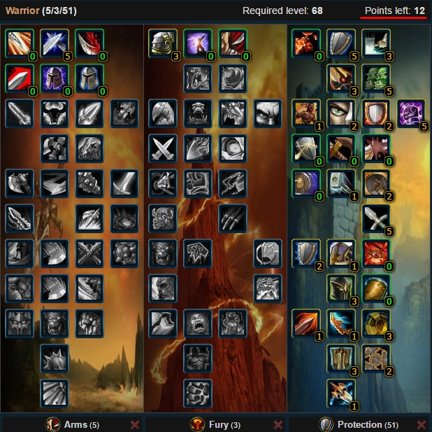 Core Protection Warrior Talent Tree Wow 3.3.5a