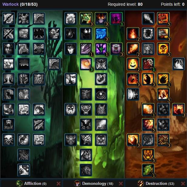 Destruction Warlock Dynamic Talent Tree Wow 3.3.5a