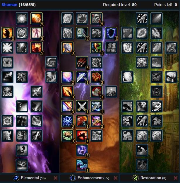 Enhancement Shaman Lowgear Talent Tree Wow 3.3.5a