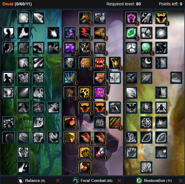 Feral Druid Bear Lowgear Talent Tree Wow 3.3.5a