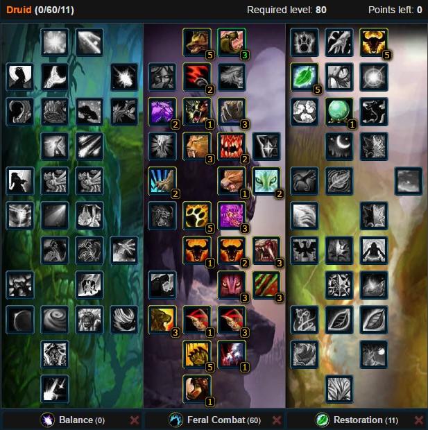 Feral Druid Mangle Talent Tree Wow 3.3.5a