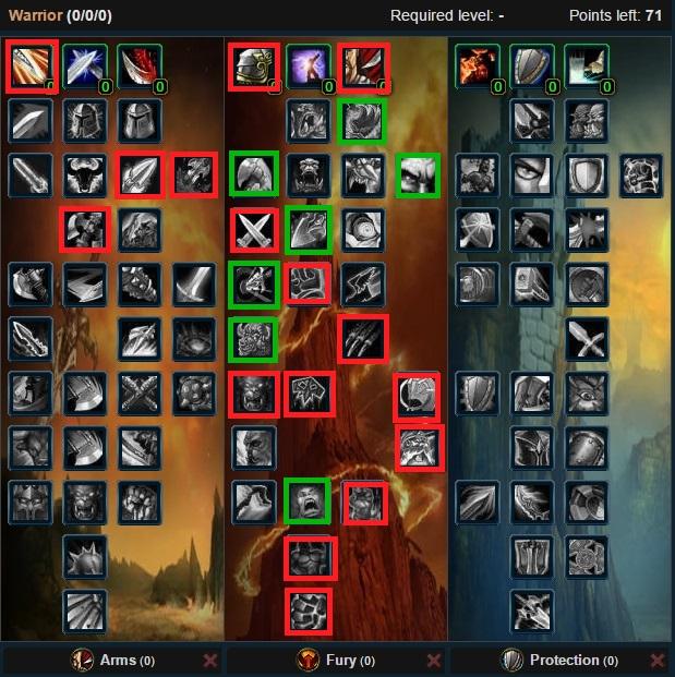Fury Warrior Talent Tree Wow 3.3.5a