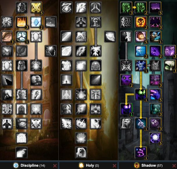 PvE Shadow Priest Talents (WotLK 3.3.5a) No T10 4/5 Set bonus