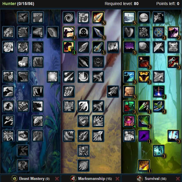 Survival Hunter Talent Tree Wow 3.3.5a