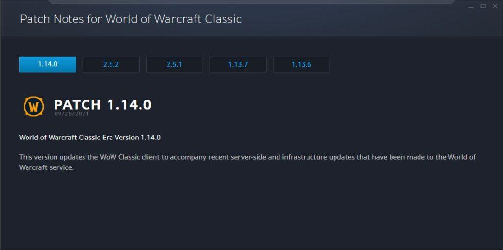 wow classic era updated to version 1.14.0